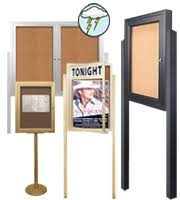 Display Boards Free Standing SwingFrame Enclosed Bulletin Boards Cork Board Displays Indoor 46