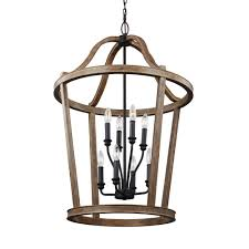 feiss lorenz 8 light weathered oak wood and dark weathered zinc multi tier chandelier