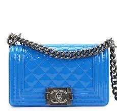 chanel boy bag blue patent leather