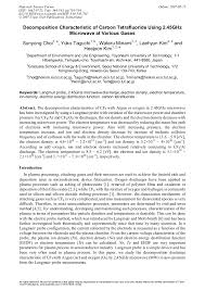 Decomposition Characteristic Of Carbon Tetrafluoride Using