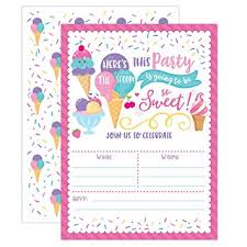 Ice Cream Birthday Party Invitations Girl Birthday Invitations Heres The Scoop Ice Cream Social 20 Fill In Invitations And Envelopes