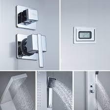 Auralum Duschpaneel Fürs Bad Mit Lcd Wassertemperatur Display Regendusche Duschset Ohne Thermostat