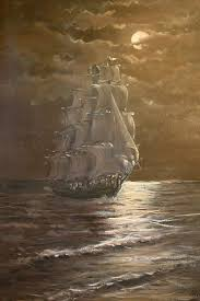vintage oil painting ship in moonlight utah listed artist