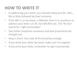 how to write ms writing a letter to your mp