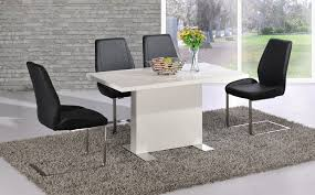 white high gloss dining table black chairs set homegenies