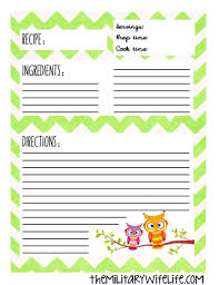 free printable recipe binder page