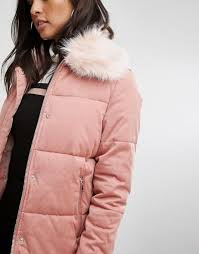 reliably jacket clothing river island padded faux fur collar river island pink women