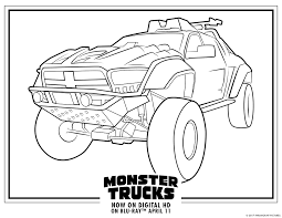 A truck with large headlights. Monster Trucks Printable Coloring Pages All For The Boys