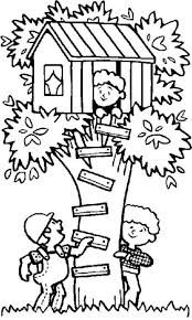 Building A Tree House Coloring Page Free Printable Coloring Pages