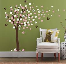 huge cherry blossom tree blowing in the wind wall decals nursery tree flowers erfly art baby