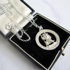vintage st christopher silver necklace