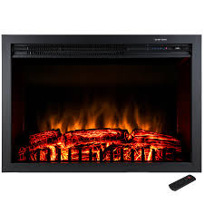 freestanding electric fireplace insert heater in black with tempered glass and remote control