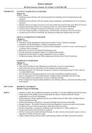 Marketing Internship Resume Marketing Internship Resume Samples Velvet Jobs 1