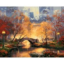 acrylic paint by number kit scenery oil painting diy home wall decor