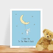 very attractive i love you to the moon and back wall art modern home bunny blue
