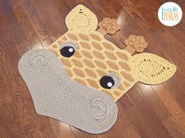 crochet pattern pdf by irarott for making an adorable giraffe rug or safari area mat
