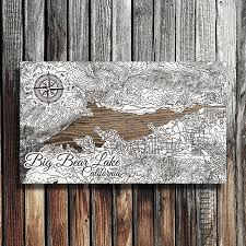 big bear lake california wooden map