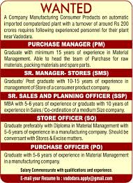 Job - Purchase Manager - Pm - Vadodara - Supply Chain/logistic ...