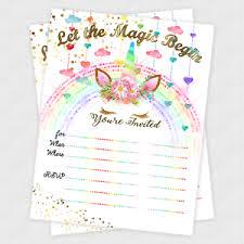 Invites Birthday Party Unicorn Invitations Birthday Party Decoration Cards Gold Invites Set
