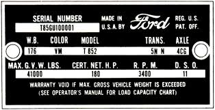 Ford Vin Decoder Chart Decode Your 61 62 Ford Truck Vin Tag Fordification Info