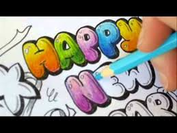 graffiti letters how to color bubble letters happy new year