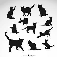黒猫のシルエットが設定され ベクター画像 無料ダウンロード