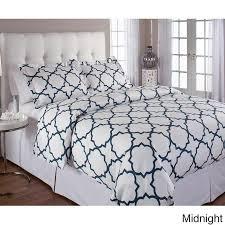 echelon home quatrefoil cotton 3 piece navy and white duvet cover set