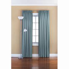 excellent gray wall and beautiful blue curtain and iron curtain rods at plus standing floor