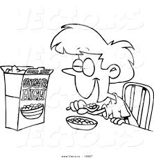 Small Picture Vector of a Cartoon Girl Eating Sugary Cereal Coloring Page