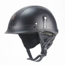 pu leather motorcycle helmet vintage half face for chopper motorcycle motocross open face cruiser chopper scooter dot