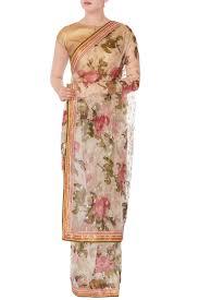 Gopi Saree Design Shop Gopi Vaid White Floral Sari With Unstitched Blouse