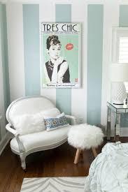 Pretty soft aqua striped wall & glam furnishings. Perfect for a teenage  girl's Tiffany inspired