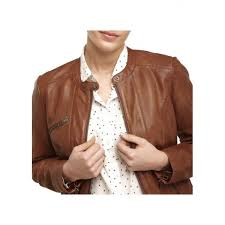 naf naf high neck leather jacket brown women coats henl4l 0250 cognac ulbibgy