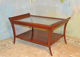 a035 new coffee table solid cherry with andover finish beveled glass top and lower shelf