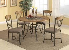 Medium Oak Bronze Color Metal Base Classic 5pc Dining Set