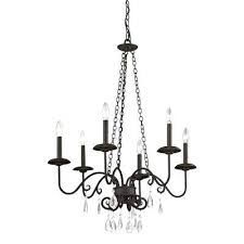 southwestern chandeliers la 6 light cottage bronze chandelier with crystal accents