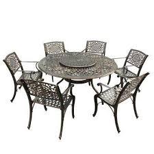 modern ornate 7 piece bronze aluminum round outdoor dining set