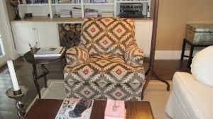 chair covered in the Jane Shelton fabric | Living room den, Chair cover,  Chair