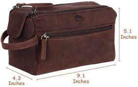 Leather Toiletry Bag Men Women Travel Bathroom Makeup Travel Kit ...