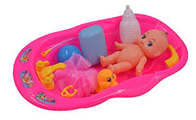elvozvets baby doll bath time set girls pretend play bath tub toys kids birthday gift featuring 6 doll bathtub small mesh pouf soap