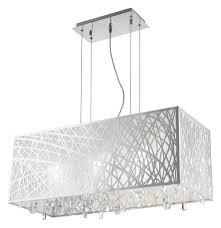 high gloss modern 6 light chrome rectangle drum shade clear crystal chandelier