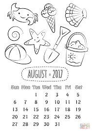 Small Picture August 2017 Calendar coloring page Free Printable Coloring Pages