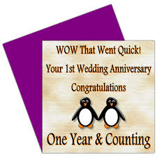 on your 1st wedding anniversary card 1 year paper anniversary Congratulations Your Wedding Anniversary on your 1st wedding anniversary card 1 year paper anniversary rosie posie penguin design for family & friends amazon co uk office products congratulations your wedding anniversary quotes