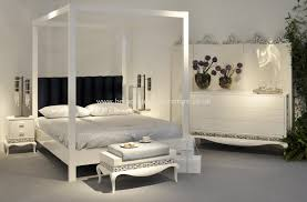 Poster Bedroom Furniture Four Poster Bed In Glossy White