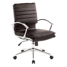 pro line ii mid back manager s black faux leather office chair
