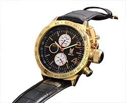mens classic black leather watch gold case multifunction day date mens classic black leather watch gold case multifunction day date sun moon dial konigswerk aq201767g