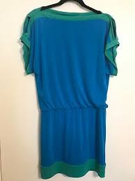 Laundry Dress Size Chart Laundry By Shelli Segal Womens Size 4 Dress Blouson Cold Shoulder Blue Green Ebay