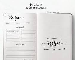 Recipe Journal Template Recipe Journal Midori Regular Recipe Book Travelers