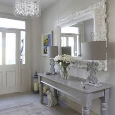 mirror hall table. Hall Table Decor Shabby-chic Style With Entry Mirror Door Ornate Lamp