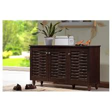 shoe storage furniture for entryway. winda modern and contemporary 3door wooden entryway shoes storage cabinet dark brown baxton studio shoe furniture for e